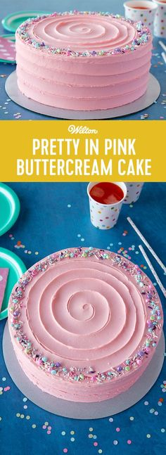 This Pretty in Pink Buttercream Cake is great for little girl's birthday parties or fun bachelorette or bridal showers. You can personalize this cake with a cake topper or some birthday candles or create your own sprinkles mix with whatever nonpareils or jimmies you have lying around. A quick and easy treat that bakers of all skill levels can make, this Pretty in Pink Cake is all dressed up and ready for fun! #wiltoncakes #cakedecorating #buttercream