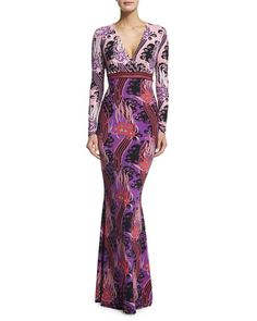 BGS16_W0A5X Roberto Cavalli Long-Sleeve V-Neck Printed Gown, Red $1,295.00