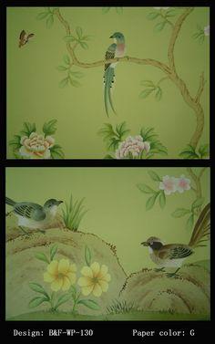 chinese wallpaper :: chinoiserie wallpaper :: silk wallpaper :: hand painted