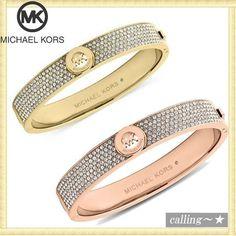 セレブ愛用者多数☆Michael Kors☆Crystal Logo Bangle Bracelet