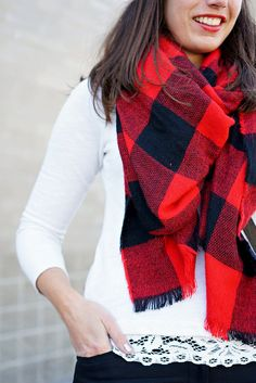 red lips, red and black buffalo plaid blanket scarf, lace sweater, fall work wear | Style On Target