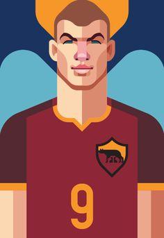 Roma Art: Dzeko and Totti by Daniel Nyari