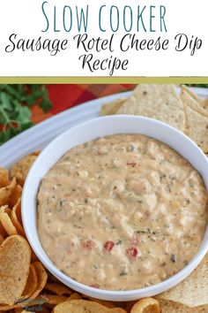 Have you heard of Sausage Rotel Dip? It's like the ultimate comfort food, plus an appetizer, all in one. Imagine a warm creamy queso cheese dip, dripping from a crispy tortilla chip. That image puts you close, but this dip is even BETTER than that. Rotel Dip With Sausage, Rotel Cheese Dip, Cheese Dips, Cheese Dip Recipes, Appetizer Recipes, Appetizer Dips, Bacon Recipes, Milk Recipes, Slow Cooker Recipes