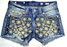 Miss Me Amazing Denim Embroidered Flower Front ShortsSizes 7-14