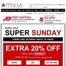 Today only: extra 20% off during Super Sunday!