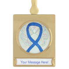 Blue Awareness Ribbon Angel Art Custom Ornament