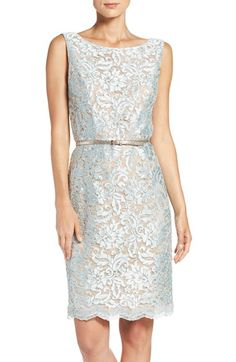 Free shipping and returns on Ellen Tracy Sequin Lace Sheath Dress at Nordstrom.com. Tonal sequins illuminate the lustrous corded lace overlay of a classically polished party dress seamed through the bodice and finished with a metallic skinny belt to accentuate your figure.