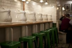 Victorian urinal seating bank. First installed around 1890. Cleaned and restored 2013.