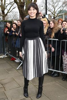 Daisy Lowe wears monochrome barcode skirt for London Fashion Week's Topshop show | Daily Mail Online