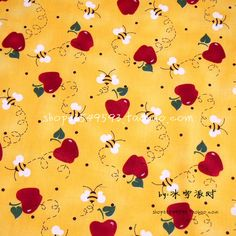 Fabric,Red Apple&Bees Printed DIY Tissue Patchwork Tela Felt Sewing For Clothes Quilting Plain Tecidos Patchwork Fabric, Fabric Sewing, Fabric Pictures, Sewing Material, Diy Clothing, Red Apple, Craft Stores, Bees, Sewing Crafts