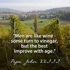"""""""Men are like wine - some turn to vinegar, but the best improve with age."""" -Pope John XXIII (my husband is the best! Great Quotes, Quotes To Live By, Inspirational Quotes, Motivational, Pope Quotes, Juan Xxiii, Alcohol Humor, Good Cigars, Catholic Quotes"""