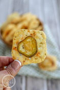 Low-Carb {2 Ingredient} Crispy Jalapeño Cheese Crackers