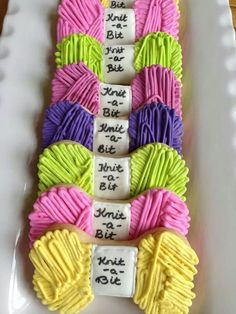 Wow you could use our dog bone cake pan to make this yarn cake! Yarn by Lacie Macie Cookie Designs Mother's Day Cookies, Fancy Cookies, Cut Out Cookies, Iced Cookies, Cute Cookies, Cupcake Cookies, Sugar Cookies, Frosted Cookies, Cookie Icing