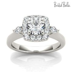 DIAMOND ENGAGEMENT RINGS - Cushion Halo 1.25cttw Diamond Engagement Ring With Round Side Diamond