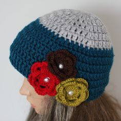 Hand crochet ladies hat with flowers. Available in by WoolyThinker