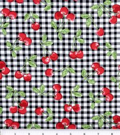 Novelty Cotton Fabric-Cherry Gingham Black for curtains at JoAnn Fabrics Fabric Crafts, Sewing Crafts, Sewing Projects, Paper Crafts, Patchwork Quilt, Quilts, Quilting Fabric, Online Craft Store, Craft Stores