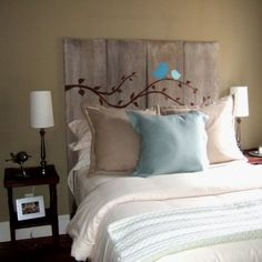 DIY headboard idea VERY CUTE!! I could do this with a few butterflies!