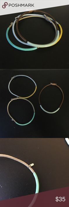 Fossil bracelets Adjustable bracelet set. Only worn once or twice. Perfect condition. Fossil Jewelry Bracelets