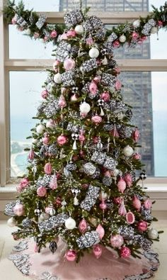 Pink and silver decorated Christmas tree