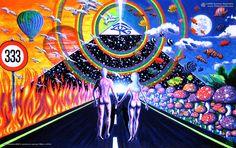 New Horizons Poster psy trance luz UV negro & brilla en la oscuridad hippie goa
