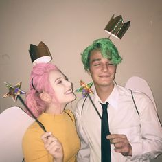 funny halloween costumes 14 Affordable & Cute DIY Halloween Costumes for Couples Cosmo & Wanda Couples Halloween Costume Idea Cute Couples Costumes, Cute Couple Halloween Costumes, Popular Halloween Costumes, Diy Costumes, Group Costumes, Disney Couple Costumes, Halloween Diy, Woman Costumes, Couple Costume Ideas