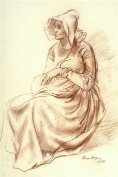 Voortrekker Woman and Child - Rosa Hope, Conte on paper,