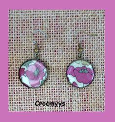 Boucles d'oreilles liberty poppy and daisy 20mm : Boucles d'oreille par crocmyys