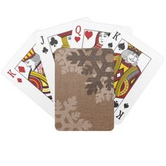 Snowflakes Style Faux Burlap Chic Holiday Fun Deck Of Cards  Sweet white and brown snowflakes against a rustic, country faux-burlap. Tastefully Christmasy! Playing cards to add festivity to any game.