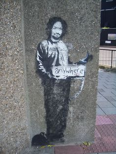 Banksy Hitchhiker to Anywhere Archway 2005 - Banksy – Wikipedia