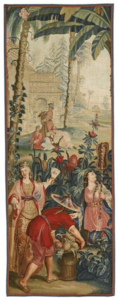 """French Chinoiserie tapestry panel, depicting 'Gathering Pineapples', from a series of The Emperor of China, after designs by Guy Louis Vernansal, Jean-Baptiste Belin de Fontenay, and """"Baptiste"""" Monnoyer second quarter 18th century, Beauvais."""