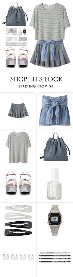 """""""in the same place"""" by theglampedia ❤ liked on Polyvore featuring T By Alexander Wang, Target, Zara, CASSETTE, Essie, Forever 21, American Apparel, Maison Margiela and denim"""