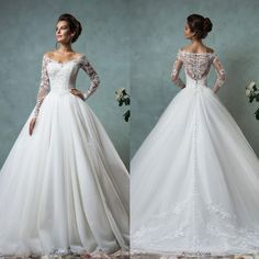2016 Amelia Sposa Spring A-Line Wedding Dresses with Off the Shoulder Neckline Long Sleeves Sheer Lace Backless Ball Bridal Gowns Plus Size