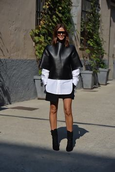 Christine Centenera wearing Bassike top and shirt, Balenciaga skirt, Balmain boots and Celine sunglasses.