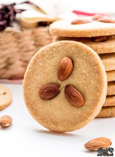 Crispy & Buttery Indian style Eggless Almond Cookies. So good with coffee or tea! #cookies #eggless