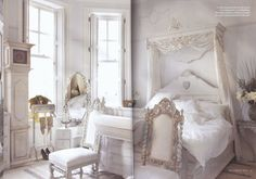 Romantic Homes, September 2010 issue featured this Swedish-style apartment in Brighton, England w/ ALL furniture painted white