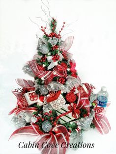 Christmas Tree Centerpiece decorated Holiday Floral Arrangement SWEET TREAT red white silver Unique CUSTOM designs by Cabin Cove Creations Silver Christmas, Christmas Home, Christmas Wreaths, Christmas Decorations, Holiday Decor, Christmas Tables, Primitive Christmas Crafts, Grave Decorations, Christmas Front Doors