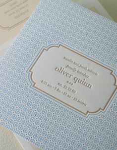 "There's something about a letterpress-printed baby announcement card that says ""I've arrived""."