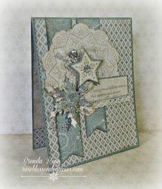 Rose Blossom Legacies - Frosted paper with Classic Doily and Yuletide Greeting stamp sets CTMH stamps Holiday Cards, Christmas Cards, Christmas Decor, Xmas Theme, Christmas Snowflakes, Heart Cards, Winter Cards, Card Sketches, Close To My Heart