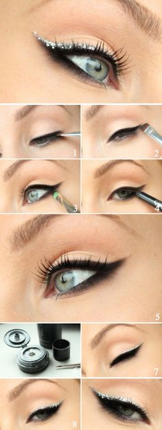 15 Easy Hacks For Perfect Eyeliner Tutorial – Smokey Eyeliner with Silver Glitter - Das schönste Make-up Perfect Eyeliner, How To Apply Eyeliner, Applying Eyeliner, Applying Makeup, Perfect Eyebrows, Perfect Makeup, Beauty Tutorials, Beauty Hacks, Beauty Tips