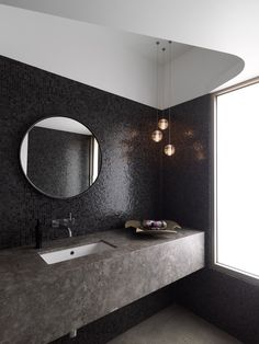 Bocci lights in a dramatic bathroom, black mosaic tile, stone counter, by Luigi Rosselli Architects Bad Inspiration, Bathroom Inspiration, Modern Bathroom Design, Bathroom Interior Design, Bathroom Designs, Bath Design, Design Kitchen, Beautiful Bathrooms, Small Bathroom