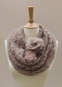 PDF CROCHET PATTERN  Cowl Flower Gale - lilac purple gray creamy lace mohair rose neck warmer. $4,99, via Etsy.