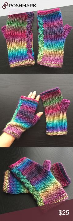 "Rainbow Fingerless Gloves Cable Knit Wrist Warmers Knitted fingerless gloves/mitts or wrist warmers with cable detail,  in a gorgeous jewel tone rainbow (shot in bright daylight, they may appear darker in lower light). No two gloves ever exactly alike due to variegation/ombré. 100% acrylic roving with a fuzzy halo, recommended hand wash solo as necessary. Rough measurements: 3.5"" wide, 7"" long, moderate stretch. Lightweight, airy, slightly loose knit, short thumb. Loose on my petit hands…"