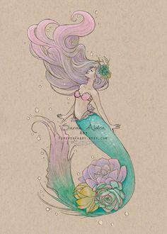 Mermaid Tattoo Designs, Mermaid Drawings, Mermaid Tattoos, Art Drawings, Mermaid Paintings, Mermaid Drawing Tutorial, Fantasy Mermaids, Mermaids And Mermen, Real Mermaids