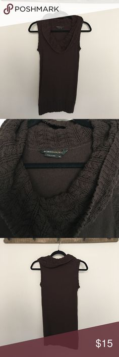BCBG MaxAzria cable knit draped tank XS Cable knit accents around neckline and bottom. Size Xsmall. Great condition and perfect for the seasonal transition to spring! BCBGMaxAzria Tops Tank Tops