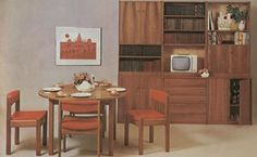 All furniture in the 70s had a chunkier feel to that of the 60s. The public's love affair with teak showed no sign of ending. This dining set (left) is from 1971. It shows the increasing trend for storage furniture. This was an innovation in the 50s and 60s, but this type of furniture became standard in many homes in the 70s.