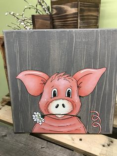 Pig Art, Farm Art, Farm Theme, Acrylic Art, Animal Paintings, Diy Painting, Farm Animals, Wood Art, Painted Rocks
