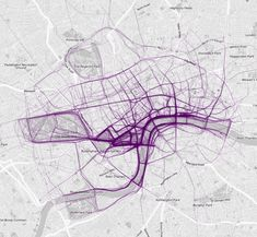 Where People Run by Nathan Yau  Exercise routes were downloaded from RunKeeper and mapped. From top: Atlanta, London, Sydney, and Tokyo.