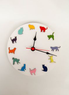 Wooden white clock with colored funny cats playing by MustHaveGift