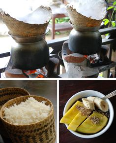 Sticky: steaming in the basket; served in a bamboo basket; mango sticky rice dessert. Learn all about the food of Laos http://somanymiles.com/2013/06/all-about-lao-food/