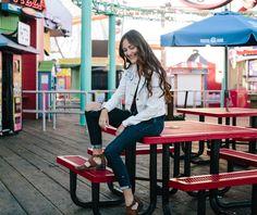 Santa monica pier photoshoot, la photoshoot, lifestyle photoshoot, denim outfit, urban outfitters
